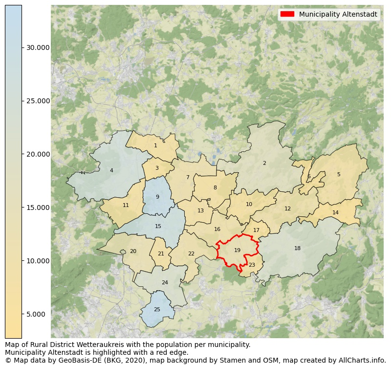 Map of Rural district Wetteraukreis with the population per municipality.Municipality Altenstadt is highlighted with a red edge.. This page shows a lot of information about residents (such as the distribution by age groups, family composition, gender, native or German with an immigration background, ...), homes (numbers, types, price development, use, type of property, ...) and more (car ownership, energy consumption, ...) based on open data from the German Federal Agency for Cartography, the Federal Statistical Office (DESTATIS), the Regional Statistical Offices and various other sources!