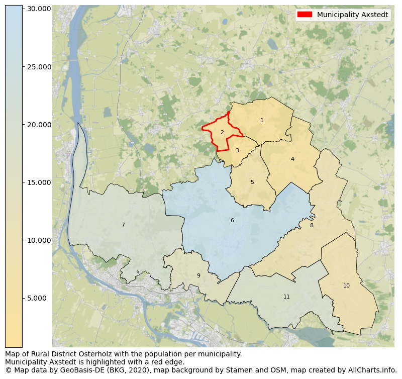 Map of Rural district Osterholz with the population per municipality.Municipality Axstedt is highlighted with a red edge.. This page shows a lot of information about residents (such as the distribution by age groups, family composition, gender, native or German with an immigration background, ...), homes (numbers, types, price development, use, type of property, ...) and more (car ownership, energy consumption, ...) based on open data from the German Federal Agency for Cartography, the Federal Statistical Office (DESTATIS), the Regional Statistical Offices and various other sources!