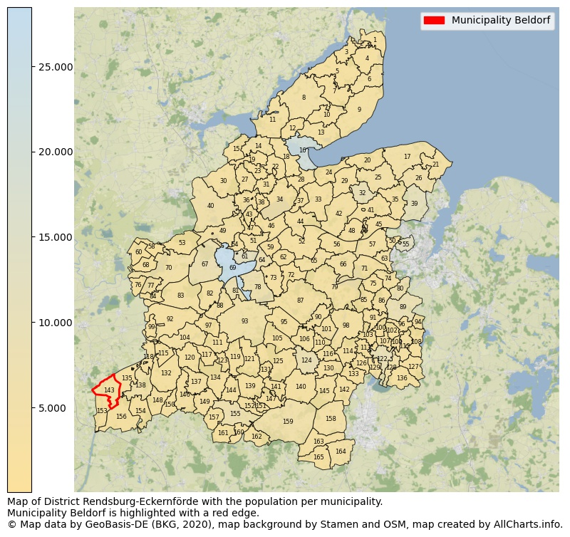 Map of District Rendsburg-Eckernförde with the population per municipality.Municipality Beldorf is highlighted with a red edge.. This page shows a lot of information about residents (such as the distribution by age groups, family composition, gender, native or German with an immigration background, ...), homes (numbers, types, price development, use, type of property, ...) and more (car ownership, energy consumption, ...) based on open data from the German Federal Agency for Cartography, the Federal Statistical Office (DESTATIS), the Regional Statistical Offices and various other sources!