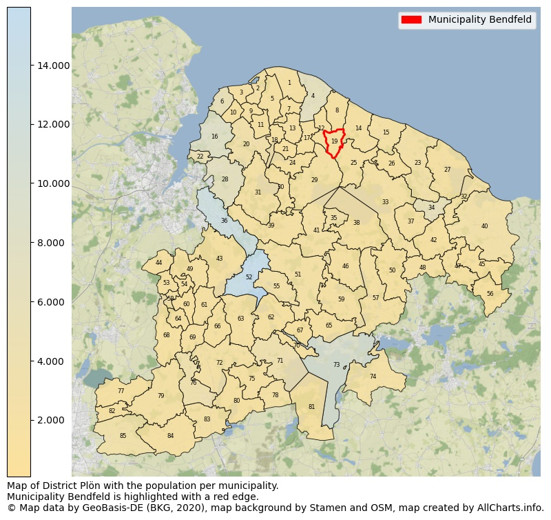 Map of District Plön with the population per municipality.Municipality Bendfeld is highlighted with a red edge.. This page shows a lot of information about residents (such as the distribution by age groups, family composition, gender, native or German with an immigration background, ...), homes (numbers, types, price development, use, type of property, ...) and more (car ownership, energy consumption, ...) based on open data from the German Federal Agency for Cartography, the Federal Statistical Office (DESTATIS), the Regional Statistical Offices and various other sources!