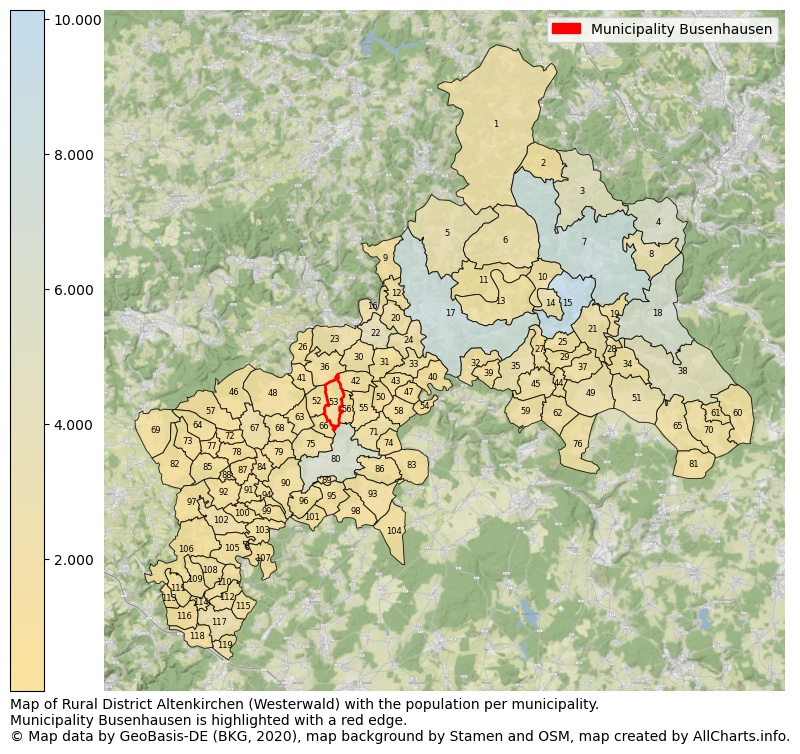 Map of Rural district Altenkirchen (Westerwald) with the population per municipality.Municipality Busenhausen is highlighted with a red edge.. This page shows a lot of information about residents (such as the distribution by age groups, family composition, gender, native or German with an immigration background, ...), homes (numbers, types, price development, use, type of property, ...) and more (car ownership, energy consumption, ...) based on open data from the German Federal Agency for Cartography, the Federal Statistical Office (DESTATIS), the Regional Statistical Offices and various other sources!
