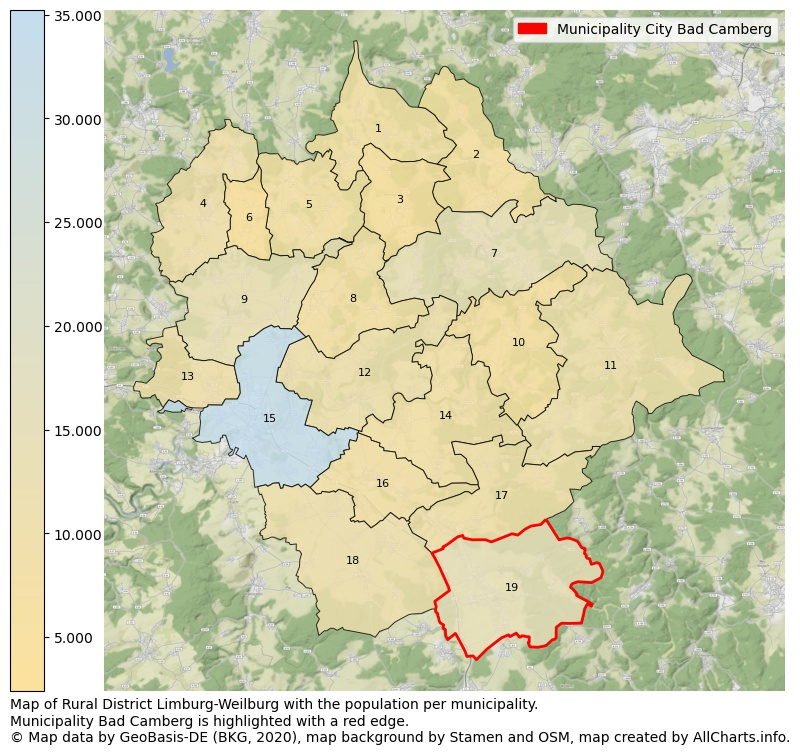 Map of Rural district Limburg-Weilburg with the population per municipality.Municipality Bad Camberg is highlighted with a red edge.. This page shows a lot of information about residents (such as the distribution by age groups, family composition, gender, native or German with an immigration background, ...), homes (numbers, types, price development, use, type of property, ...) and more (car ownership, energy consumption, ...) based on open data from the German Federal Agency for Cartography, the Federal Statistical Office (DESTATIS), the Regional Statistical Offices and various other sources!