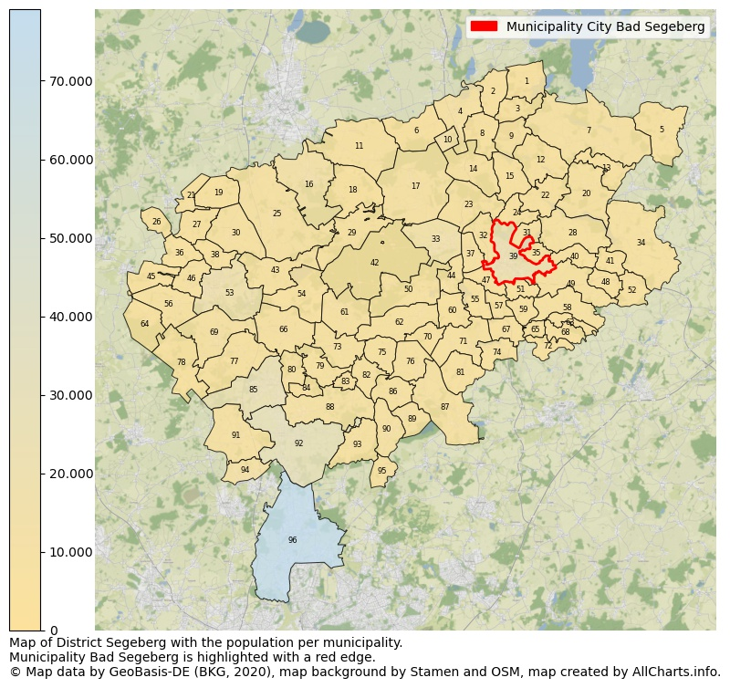 Map of District Segeberg with the population per municipality.Municipality Bad Segeberg is highlighted with a red edge.. This page shows a lot of information about residents (such as the distribution by age groups, family composition, gender, native or German with an immigration background, ...), homes (numbers, types, price development, use, type of property, ...) and more (car ownership, energy consumption, ...) based on open data from the German Federal Agency for Cartography, the Federal Statistical Office (DESTATIS), the Regional Statistical Offices and various other sources!