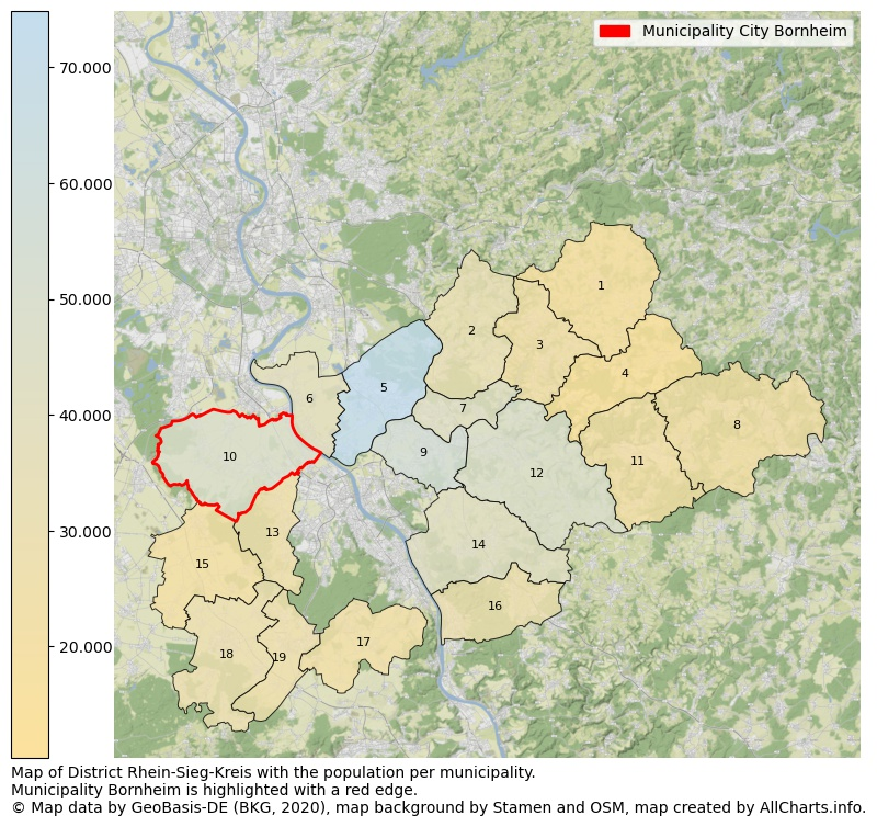 Map of District Rhein-Sieg-Kreis with the population per municipality.Municipality Bornheim is highlighted with a red edge.. This page shows a lot of information about residents (such as the distribution by age groups, family composition, gender, native or German with an immigration background, ...), homes (numbers, types, price development, use, type of property, ...) and more (car ownership, energy consumption, ...) based on open data from the German Federal Agency for Cartography, the Federal Statistical Office (DESTATIS), the Regional Statistical Offices and various other sources!