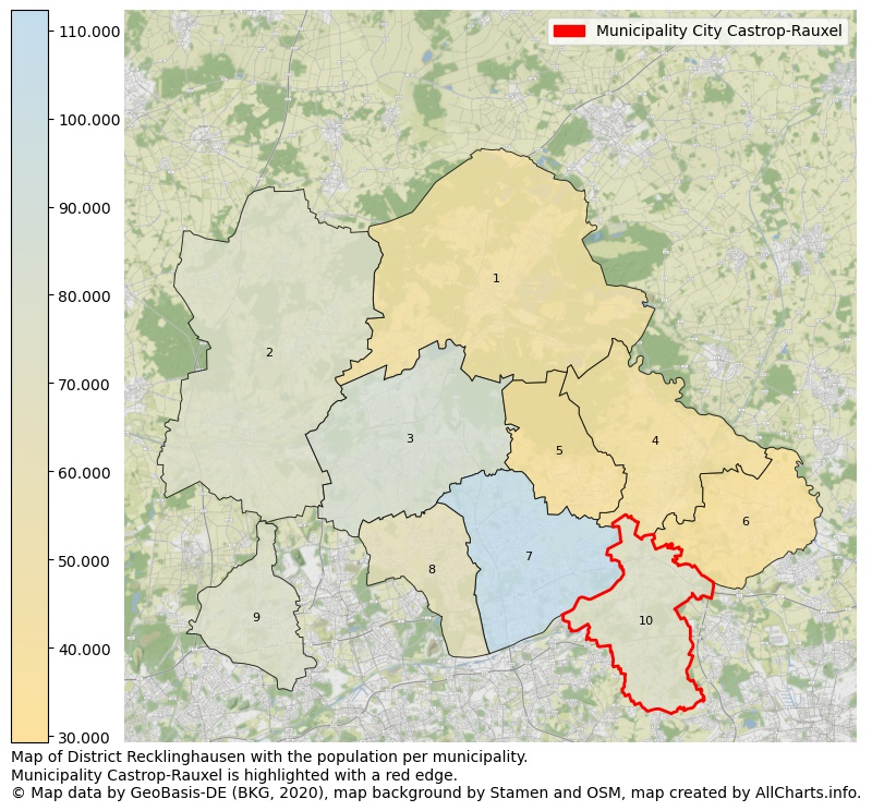 Map of District Recklinghausen with the population per municipality.Municipality Castrop-Rauxel is highlighted with a red edge.. This page shows a lot of information about residents (such as the distribution by age groups, family composition, gender, native or German with an immigration background, ...), homes (numbers, types, price development, use, type of property, ...) and more (car ownership, energy consumption, ...) based on open data from the German Federal Agency for Cartography, the Federal Statistical Office (DESTATIS), the Regional Statistical Offices and various other sources!