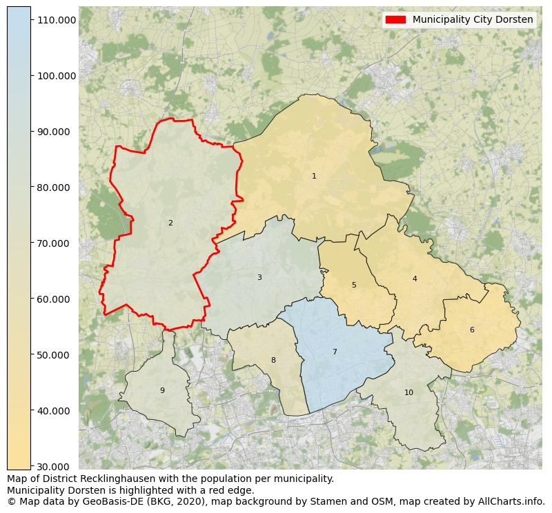 Map of District Recklinghausen with the population per municipality.Municipality Dorsten is highlighted with a red edge.. This page shows a lot of information about residents (such as the distribution by age groups, family composition, gender, native or German with an immigration background, ...), homes (numbers, types, price development, use, type of property, ...) and more (car ownership, energy consumption, ...) based on open data from the German Federal Agency for Cartography, the Federal Statistical Office (DESTATIS), the Regional Statistical Offices and various other sources!