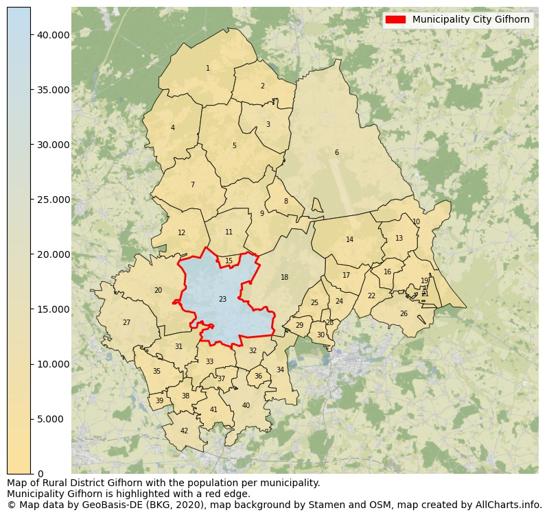 Map of Rural district Gifhorn with the population per municipality.Municipality Gifhorn is highlighted with a red edge.. This page shows a lot of information about residents (such as the distribution by age groups, family composition, gender, native or German with an immigration background, ...), homes (numbers, types, price development, use, type of property, ...) and more (car ownership, energy consumption, ...) based on open data from the German Federal Agency for Cartography, the Federal Statistical Office (DESTATIS), the Regional Statistical Offices and various other sources!