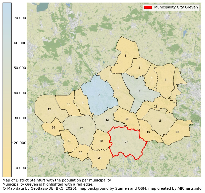 Map of District Steinfurt with the population per municipality.Municipality Greven is highlighted with a red edge.. This page shows a lot of information about residents (such as the distribution by age groups, family composition, gender, native or German with an immigration background, ...), homes (numbers, types, price development, use, type of property, ...) and more (car ownership, energy consumption, ...) based on open data from the German Federal Agency for Cartography, the Federal Statistical Office (DESTATIS), the Regional Statistical Offices and various other sources!