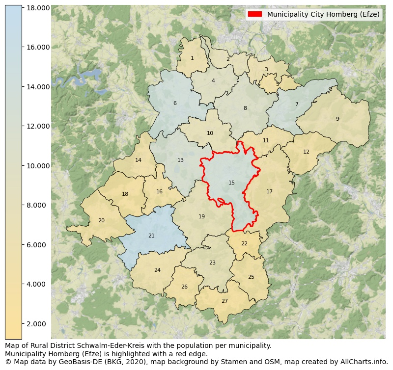 Map of Rural district Schwalm-Eder-Kreis with the population per municipality.Municipality Homberg (Efze) is highlighted with a red edge.. This page shows a lot of information about residents (such as the distribution by age groups, family composition, gender, native or German with an immigration background, ...), homes (numbers, types, price development, use, type of property, ...) and more (car ownership, energy consumption, ...) based on open data from the German Federal Agency for Cartography, the Federal Statistical Office (DESTATIS), the Regional Statistical Offices and various other sources!