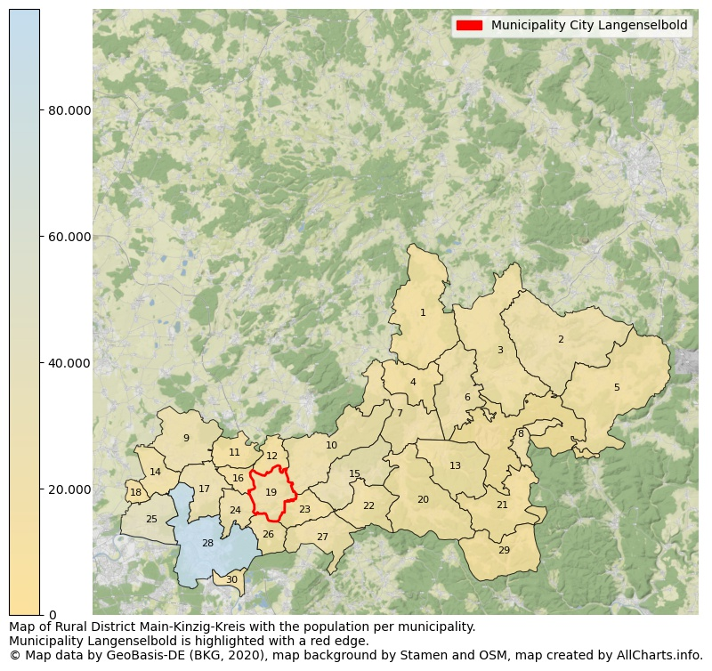 Map of Rural district Main-Kinzig-Kreis with the population per municipality.Municipality Langenselbold is highlighted with a red edge.. This page shows a lot of information about residents (such as the distribution by age groups, family composition, gender, native or German with an immigration background, ...), homes (numbers, types, price development, use, type of property, ...) and more (car ownership, energy consumption, ...) based on open data from the German Federal Agency for Cartography, the Federal Statistical Office (DESTATIS), the Regional Statistical Offices and various other sources!