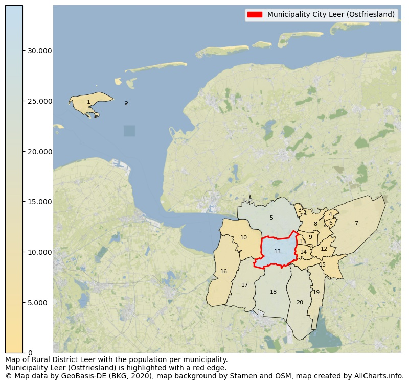 Map of Rural district Leer with the population per municipality.Municipality Leer (Ostfriesland) is highlighted with a red edge.. This page shows a lot of information about residents (such as the distribution by age groups, family composition, gender, native or German with an immigration background, ...), homes (numbers, types, price development, use, type of property, ...) and more (car ownership, energy consumption, ...) based on open data from the German Federal Agency for Cartography, the Federal Statistical Office (DESTATIS), the Regional Statistical Offices and various other sources!