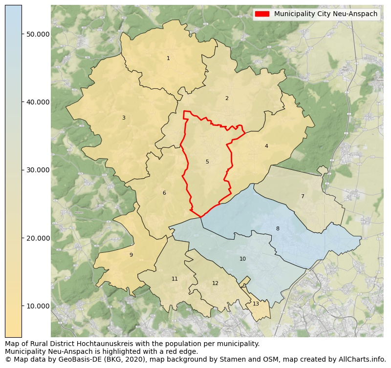 Map of Rural district Hochtaunuskreis with the population per municipality.Municipality Neu-Anspach is highlighted with a red edge.. This page shows a lot of information about residents (such as the distribution by age groups, family composition, gender, native or German with an immigration background, ...), homes (numbers, types, price development, use, type of property, ...) and more (car ownership, energy consumption, ...) based on open data from the German Federal Agency for Cartography, the Federal Statistical Office (DESTATIS), the Regional Statistical Offices and various other sources!
