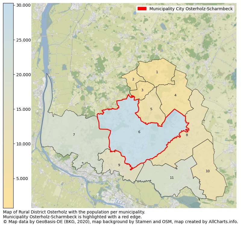 Map of Rural district Osterholz with the population per municipality.Municipality Osterholz-Scharmbeck is highlighted with a red edge.. This page shows a lot of information about residents (such as the distribution by age groups, family composition, gender, native or German with an immigration background, ...), homes (numbers, types, price development, use, type of property, ...) and more (car ownership, energy consumption, ...) based on open data from the German Federal Agency for Cartography, the Federal Statistical Office (DESTATIS), the Regional Statistical Offices and various other sources!