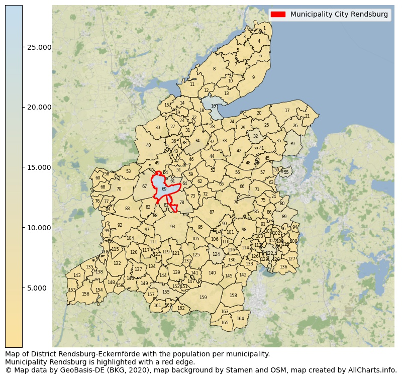 Map of District Rendsburg-Eckernförde with the population per municipality.Municipality Rendsburg is highlighted with a red edge.. This page shows a lot of information about residents (such as the distribution by age groups, family composition, gender, native or German with an immigration background, ...), homes (numbers, types, price development, use, type of property, ...) and more (car ownership, energy consumption, ...) based on open data from the German Federal Agency for Cartography, the Federal Statistical Office (DESTATIS), the Regional Statistical Offices and various other sources!