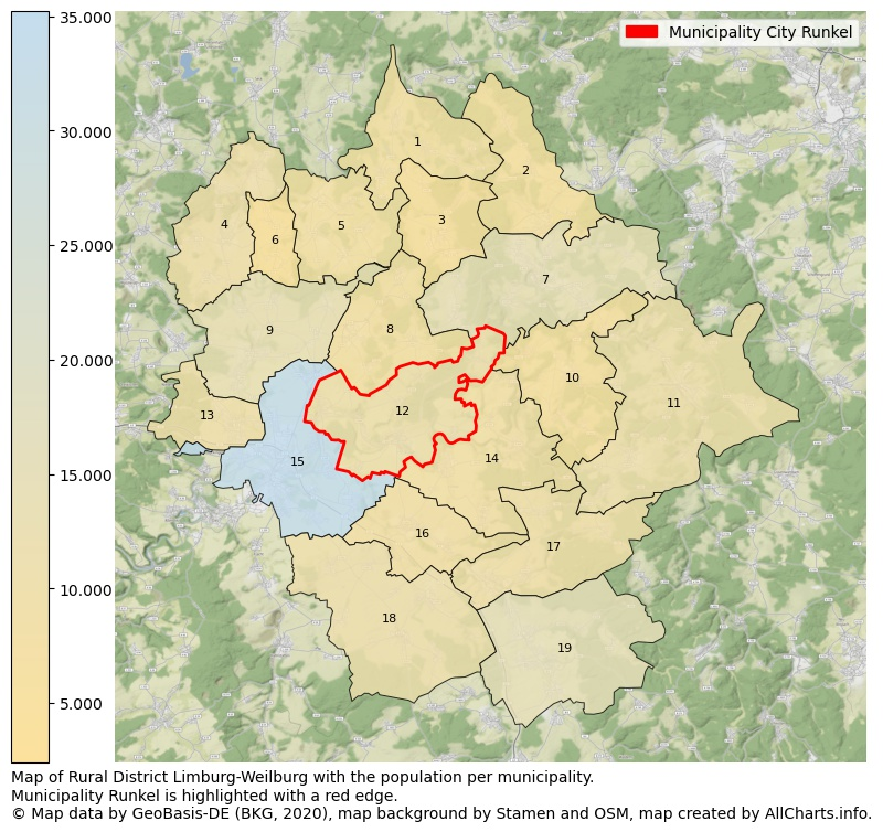 Map of Rural district Limburg-Weilburg with the population per municipality.Municipality Runkel is highlighted with a red edge.. This page shows a lot of information about residents (such as the distribution by age groups, family composition, gender, native or German with an immigration background, ...), homes (numbers, types, price development, use, type of property, ...) and more (car ownership, energy consumption, ...) based on open data from the German Federal Agency for Cartography, the Federal Statistical Office (DESTATIS), the Regional Statistical Offices and various other sources!
