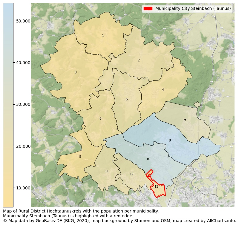 Map of Rural district Hochtaunuskreis with the population per municipality.Municipality Steinbach (Taunus) is highlighted with a red edge.. This page shows a lot of information about residents (such as the distribution by age groups, family composition, gender, native or German with an immigration background, ...), homes (numbers, types, price development, use, type of property, ...) and more (car ownership, energy consumption, ...) based on open data from the German Federal Agency for Cartography, the Federal Statistical Office (DESTATIS), the Regional Statistical Offices and various other sources!