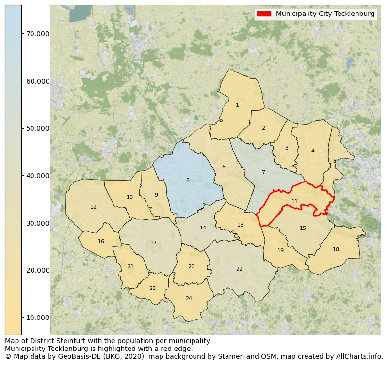 Map of District Steinfurt with the population per municipality.Municipality Tecklenburg is highlighted with a red edge.. This page shows a lot of information about residents (such as the distribution by age groups, family composition, gender, native or German with an immigration background, ...), homes (numbers, types, price development, use, type of property, ...) and more (car ownership, energy consumption, ...) based on open data from the German Federal Agency for Cartography, the Federal Statistical Office (DESTATIS), the Regional Statistical Offices and various other sources!
