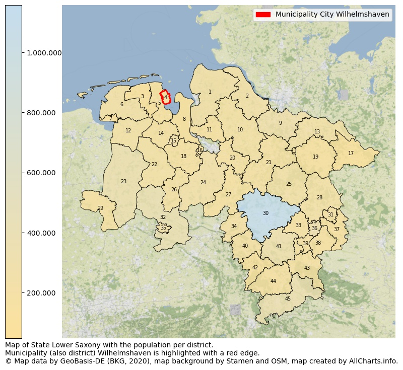 Map of State Lower Saxony with the population per district.Municipality (also district) Wilhelmshaven is highlighted with a red edge.. This page shows a lot of information about residents (such as the distribution by age groups, family composition, gender, native or German with an immigration background, ...), homes (numbers, types, price development, use, type of property, ...) and more (car ownership, energy consumption, ...) based on open data from the German Federal Agency for Cartography, the Federal Statistical Office (DESTATIS), the Regional Statistical Offices and various other sources!