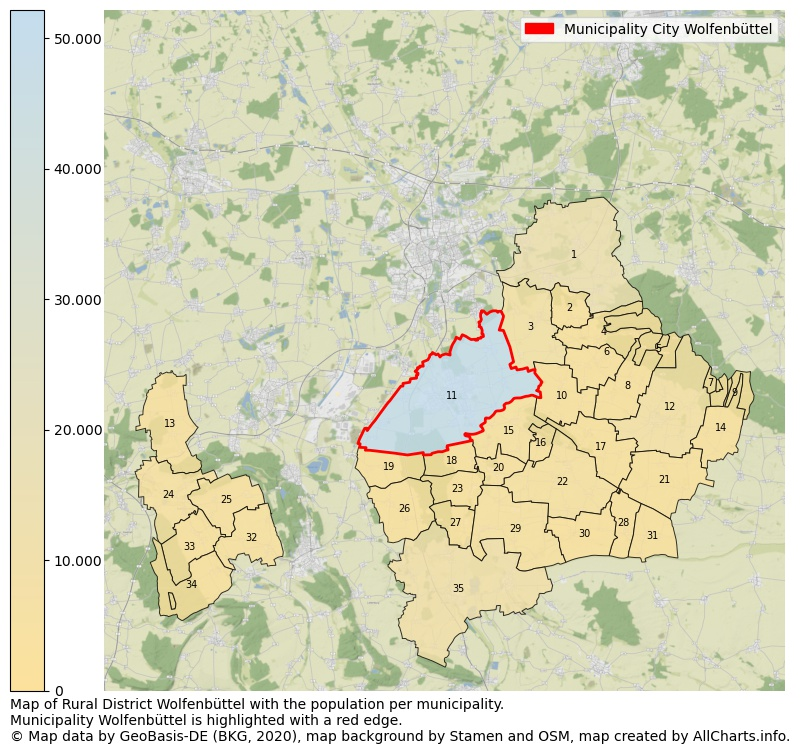 Map of Rural district Wolfenbüttel with the population per municipality.Municipality Wolfenbüttel is highlighted with a red edge.. This page shows a lot of information about residents (such as the distribution by age groups, family composition, gender, native or German with an immigration background, ...), homes (numbers, types, price development, use, type of property, ...) and more (car ownership, energy consumption, ...) based on open data from the German Federal Agency for Cartography, the Federal Statistical Office (DESTATIS), the Regional Statistical Offices and various other sources!