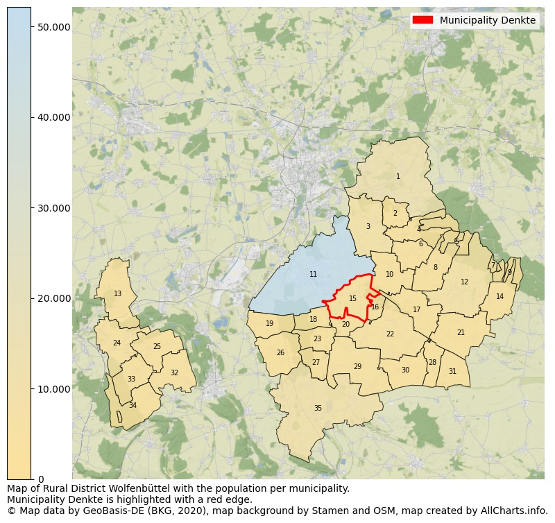 Map of Rural district Wolfenbüttel with the population per municipality.Municipality Denkte is highlighted with a red edge.. This page shows a lot of information about residents (such as the distribution by age groups, family composition, gender, native or German with an immigration background, ...), homes (numbers, types, price development, use, type of property, ...) and more (car ownership, energy consumption, ...) based on open data from the German Federal Agency for Cartography, the Federal Statistical Office (DESTATIS), the Regional Statistical Offices and various other sources!