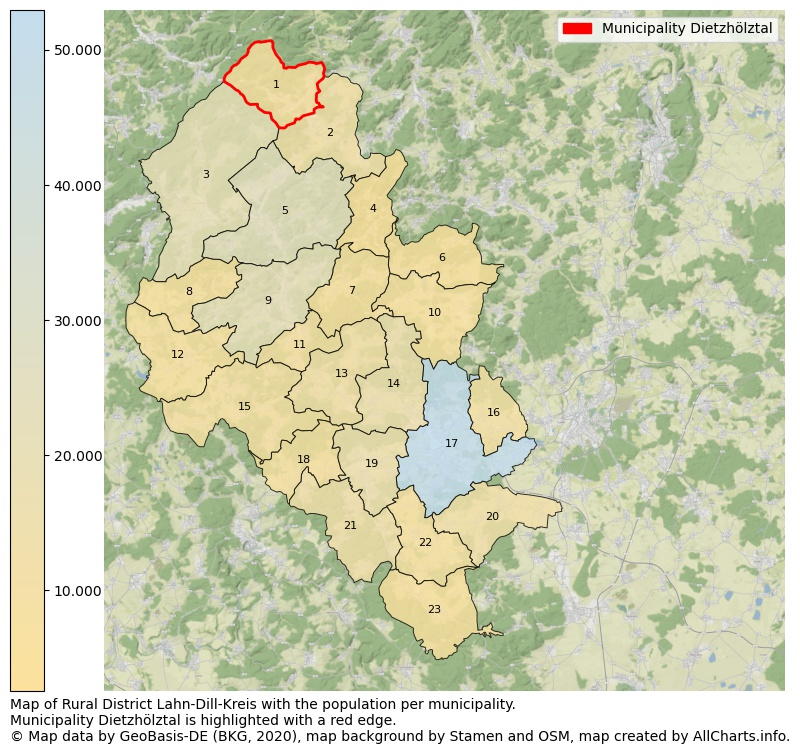 Map of Rural district Lahn-Dill-Kreis with the population per municipality.Municipality Dietzhölztal is highlighted with a red edge.. This page shows a lot of information about residents (such as the distribution by age groups, family composition, gender, native or German with an immigration background, ...), homes (numbers, types, price development, use, type of property, ...) and more (car ownership, energy consumption, ...) based on open data from the German Federal Agency for Cartography, the Federal Statistical Office (DESTATIS), the Regional Statistical Offices and various other sources!