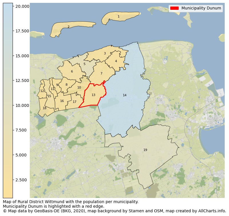 Map of Rural district Wittmund with the population per municipality.Municipality Dunum is highlighted with a red edge.. This page shows a lot of information about residents (such as the distribution by age groups, family composition, gender, native or German with an immigration background, ...), homes (numbers, types, price development, use, type of property, ...) and more (car ownership, energy consumption, ...) based on open data from the German Federal Agency for Cartography, the Federal Statistical Office (DESTATIS), the Regional Statistical Offices and various other sources!