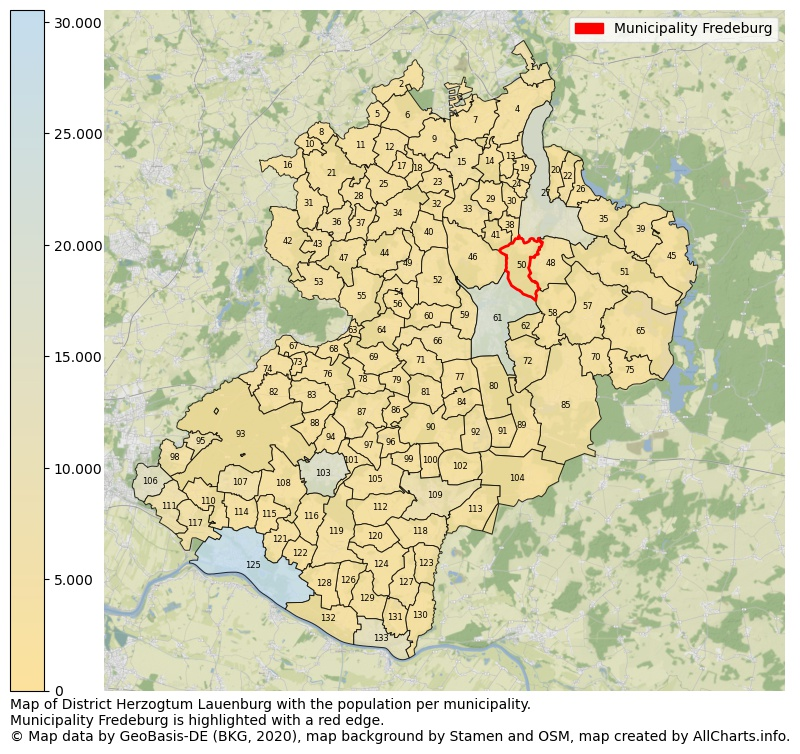 Map of District Herzogtum Lauenburg with the population per municipality.Municipality Fredeburg is highlighted with a red edge.. This page shows a lot of information about residents (such as the distribution by age groups, family composition, gender, native or German with an immigration background, ...), homes (numbers, types, price development, use, type of property, ...) and more (car ownership, energy consumption, ...) based on open data from the German Federal Agency for Cartography, the Federal Statistical Office (DESTATIS), the Regional Statistical Offices and various other sources!