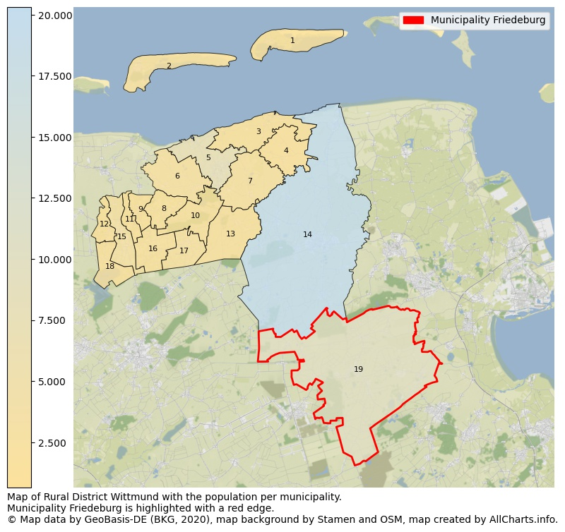 Map of Rural district Wittmund with the population per municipality.Municipality Friedeburg is highlighted with a red edge.. This page shows a lot of information about residents (such as the distribution by age groups, family composition, gender, native or German with an immigration background, ...), homes (numbers, types, price development, use, type of property, ...) and more (car ownership, energy consumption, ...) based on open data from the German Federal Agency for Cartography, the Federal Statistical Office (DESTATIS), the Regional Statistical Offices and various other sources!