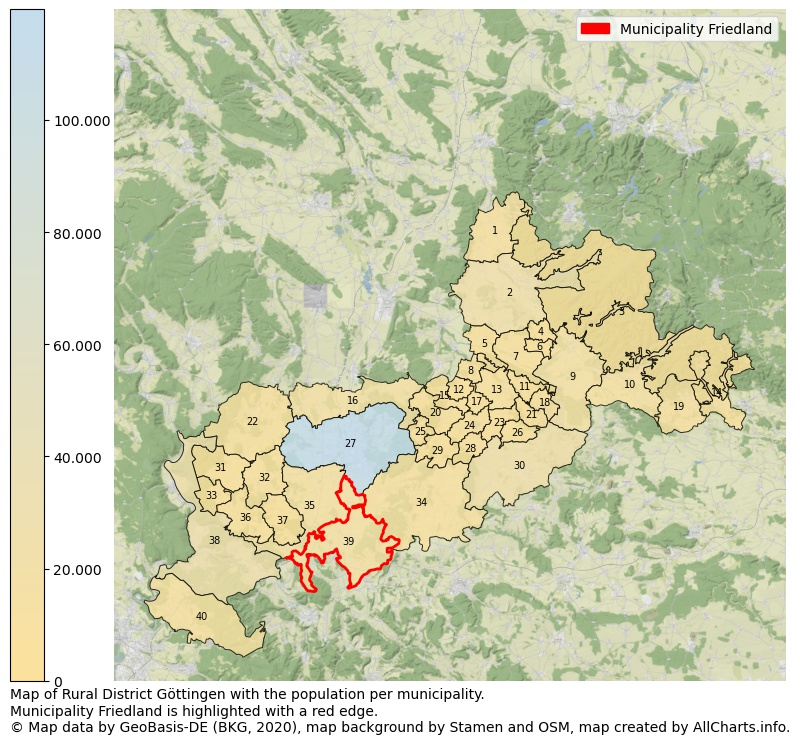 Map of Rural district Göttingen with the population per municipality.Municipality Friedland is highlighted with a red edge.. This page shows a lot of information about residents (such as the distribution by age groups, family composition, gender, native or German with an immigration background, ...), homes (numbers, types, price development, use, type of property, ...) and more (car ownership, energy consumption, ...) based on open data from the German Federal Agency for Cartography, the Federal Statistical Office (DESTATIS), the Regional Statistical Offices and various other sources!