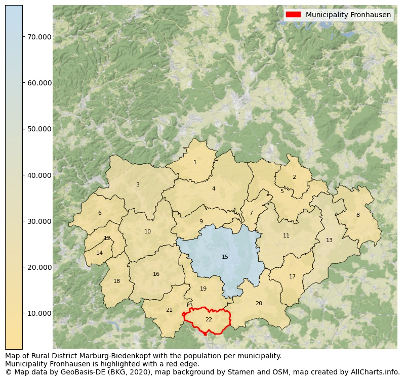Map of Rural district Marburg-Biedenkopf with the population per municipality.Municipality Fronhausen is highlighted with a red edge.. This page shows a lot of information about residents (such as the distribution by age groups, family composition, gender, native or German with an immigration background, ...), homes (numbers, types, price development, use, type of property, ...) and more (car ownership, energy consumption, ...) based on open data from the German Federal Agency for Cartography, the Federal Statistical Office (DESTATIS), the Regional Statistical Offices and various other sources!