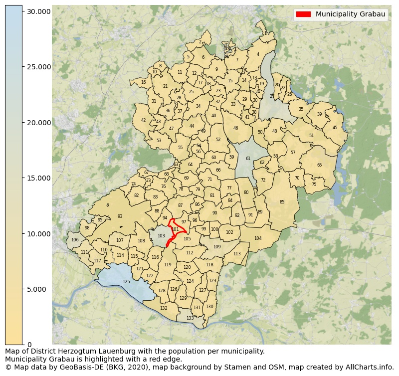 Map of District Herzogtum Lauenburg with the population per municipality.Municipality Grabau is highlighted with a red edge.. This page shows a lot of information about residents (such as the distribution by age groups, family composition, gender, native or German with an immigration background, ...), homes (numbers, types, price development, use, type of property, ...) and more (car ownership, energy consumption, ...) based on open data from the German Federal Agency for Cartography, the Federal Statistical Office (DESTATIS), the Regional Statistical Offices and various other sources!