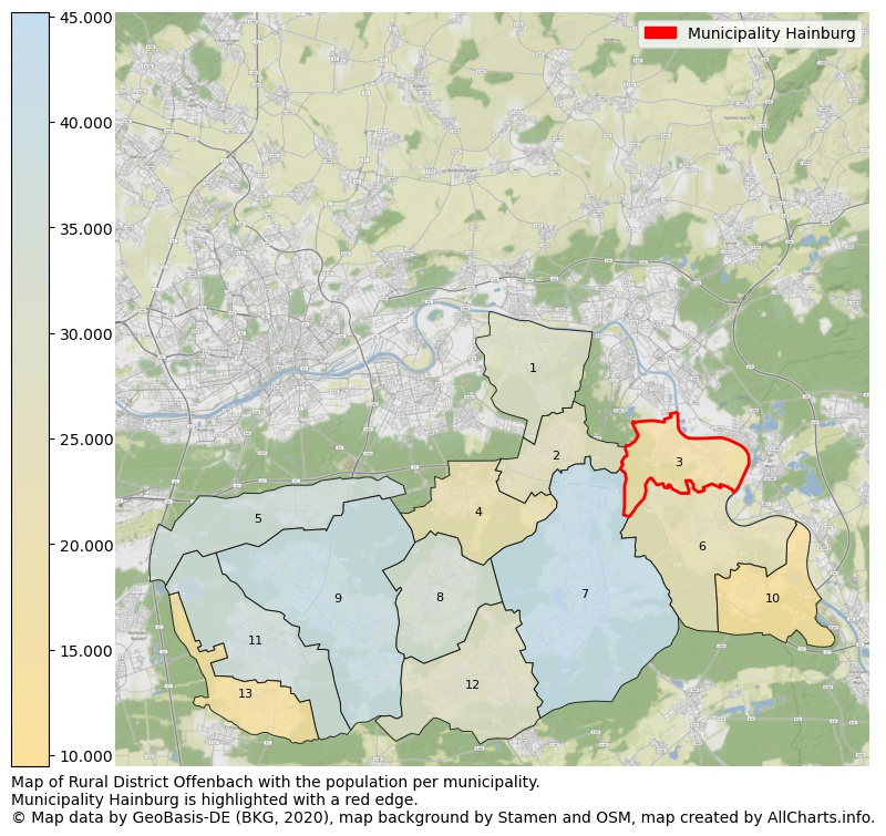 Map of Rural district Offenbach with the population per municipality.Municipality Hainburg is highlighted with a red edge.. This page shows a lot of information about residents (such as the distribution by age groups, family composition, gender, native or German with an immigration background, ...), homes (numbers, types, price development, use, type of property, ...) and more (car ownership, energy consumption, ...) based on open data from the German Federal Agency for Cartography, the Federal Statistical Office (DESTATIS), the Regional Statistical Offices and various other sources!