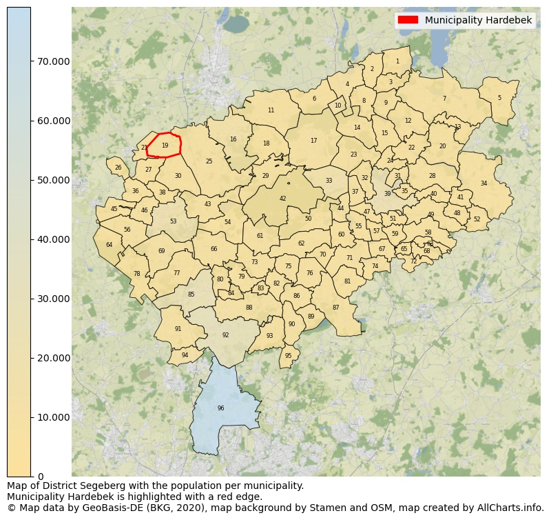 Map of District Segeberg with the population per municipality.Municipality Hardebek is highlighted with a red edge.. This page shows a lot of information about residents (such as the distribution by age groups, family composition, gender, native or German with an immigration background, ...), homes (numbers, types, price development, use, type of property, ...) and more (car ownership, energy consumption, ...) based on open data from the German Federal Agency for Cartography, the Federal Statistical Office (DESTATIS), the Regional Statistical Offices and various other sources!