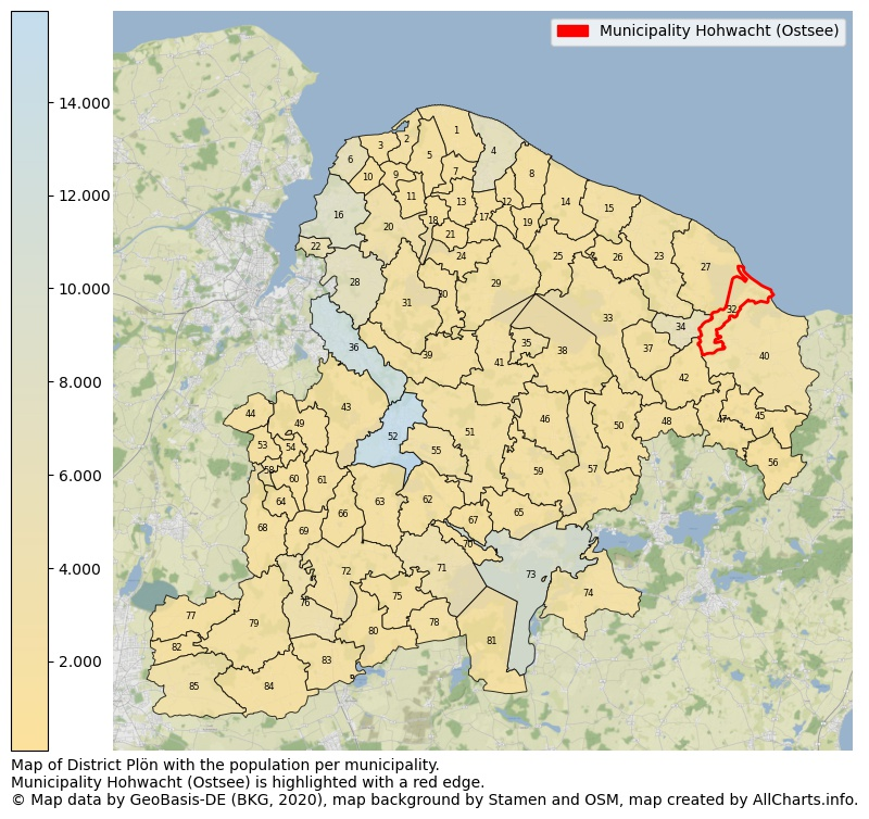 Map of District Plön with the population per municipality.Municipality Hohwacht (Ostsee) is highlighted with a red edge.. This page shows a lot of information about residents (such as the distribution by age groups, family composition, gender, native or German with an immigration background, ...), homes (numbers, types, price development, use, type of property, ...) and more (car ownership, energy consumption, ...) based on open data from the German Federal Agency for Cartography, the Federal Statistical Office (DESTATIS), the Regional Statistical Offices and various other sources!
