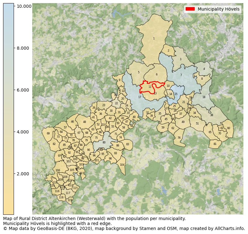 Map of Rural district Altenkirchen (Westerwald) with the population per municipality.Municipality Hövels is highlighted with a red edge.. This page shows a lot of information about residents (such as the distribution by age groups, family composition, gender, native or German with an immigration background, ...), homes (numbers, types, price development, use, type of property, ...) and more (car ownership, energy consumption, ...) based on open data from the German Federal Agency for Cartography, the Federal Statistical Office (DESTATIS), the Regional Statistical Offices and various other sources!