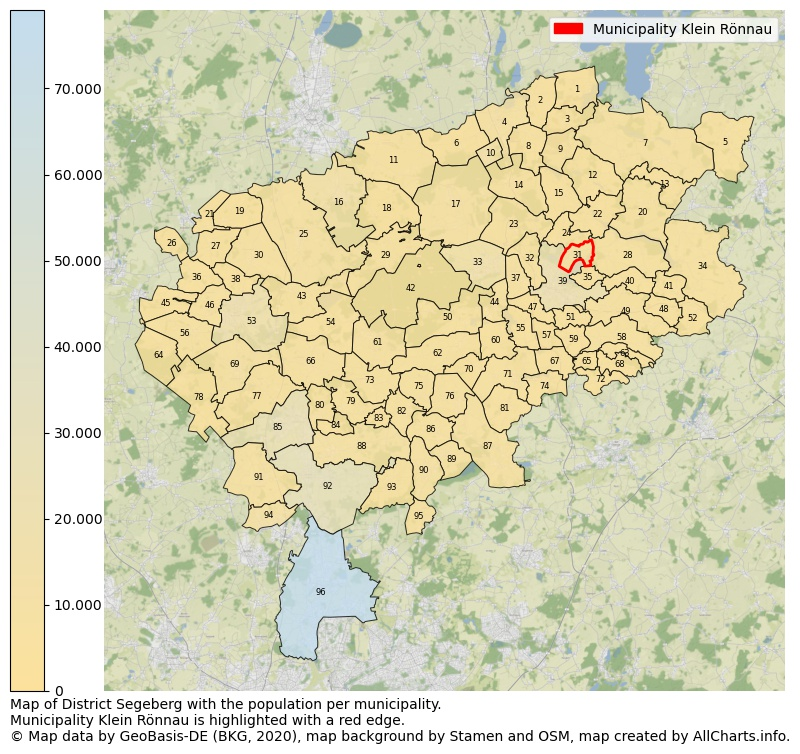 Map of District Segeberg with the population per municipality.Municipality Klein Rönnau is highlighted with a red edge.. This page shows a lot of information about residents (such as the distribution by age groups, family composition, gender, native or German with an immigration background, ...), homes (numbers, types, price development, use, type of property, ...) and more (car ownership, energy consumption, ...) based on open data from the German Federal Agency for Cartography, the Federal Statistical Office (DESTATIS), the Regional Statistical Offices and various other sources!