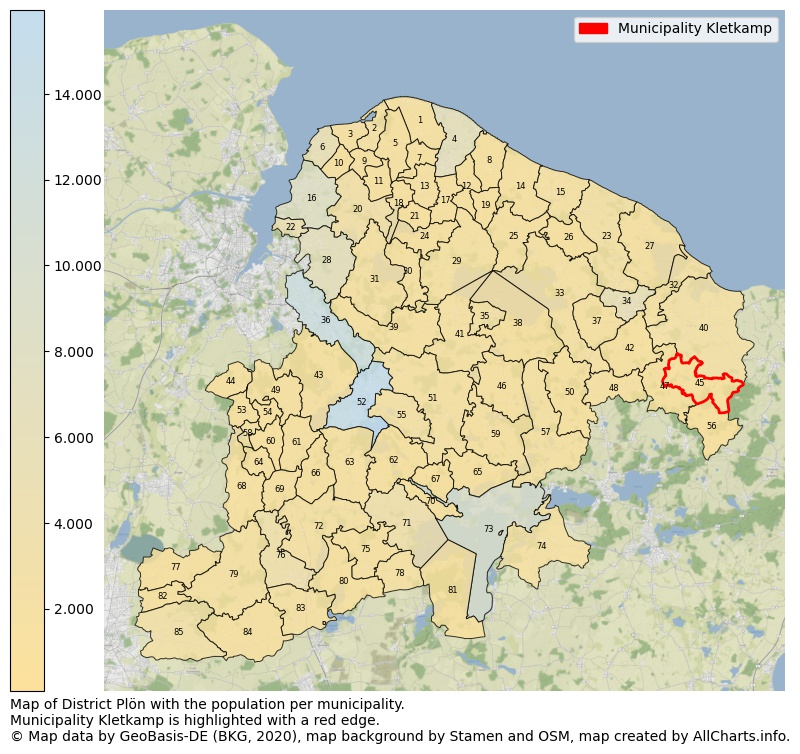Map of District Plön with the population per municipality.Municipality Kletkamp is highlighted with a red edge.. This page shows a lot of information about residents (such as the distribution by age groups, family composition, gender, native or German with an immigration background, ...), homes (numbers, types, price development, use, type of property, ...) and more (car ownership, energy consumption, ...) based on open data from the German Federal Agency for Cartography, the Federal Statistical Office (DESTATIS), the Regional Statistical Offices and various other sources!
