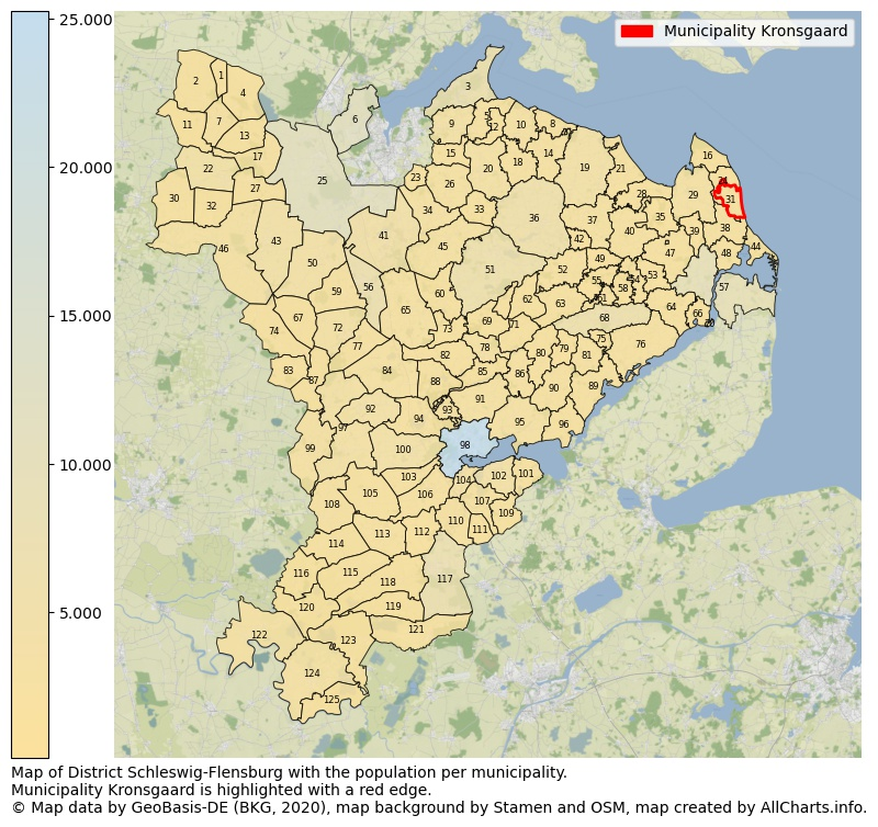 Map of District Schleswig-Flensburg with the population per municipality.Municipality Kronsgaard is highlighted with a red edge.. This page shows a lot of information about residents (such as the distribution by age groups, family composition, gender, native or German with an immigration background, ...), homes (numbers, types, price development, use, type of property, ...) and more (car ownership, energy consumption, ...) based on open data from the German Federal Agency for Cartography, the Federal Statistical Office (DESTATIS), the Regional Statistical Offices and various other sources!