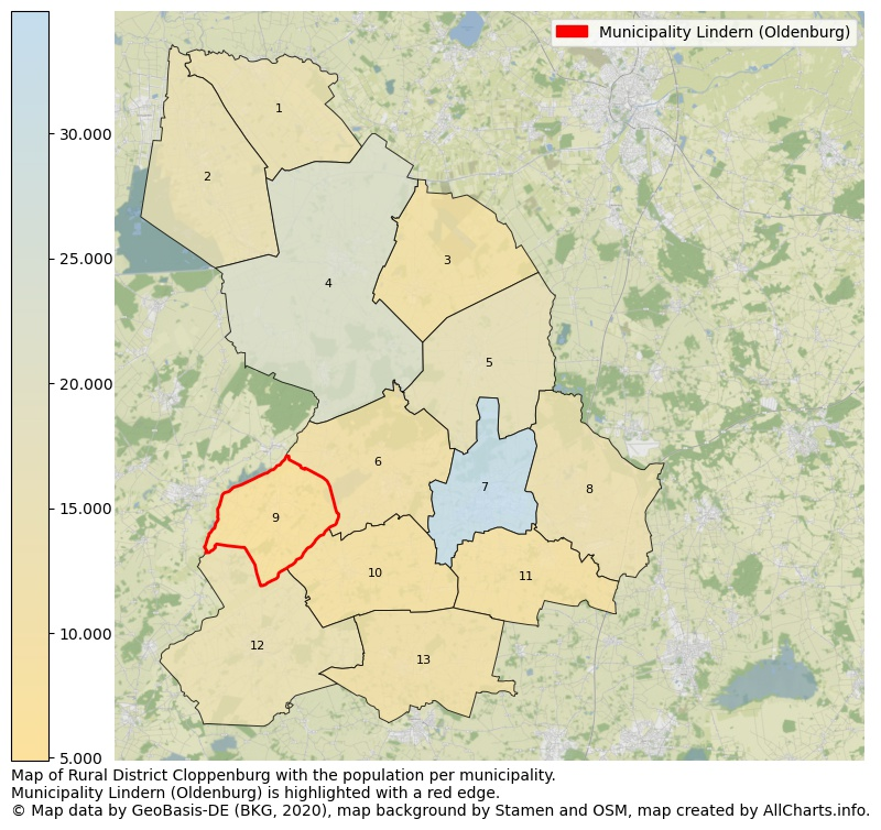 Map of Rural district Cloppenburg with the population per municipality.Municipality Lindern (Oldenburg) is highlighted with a red edge.. This page shows a lot of information about residents (such as the distribution by age groups, family composition, gender, native or German with an immigration background, ...), homes (numbers, types, price development, use, type of property, ...) and more (car ownership, energy consumption, ...) based on open data from the German Federal Agency for Cartography, the Federal Statistical Office (DESTATIS), the Regional Statistical Offices and various other sources!