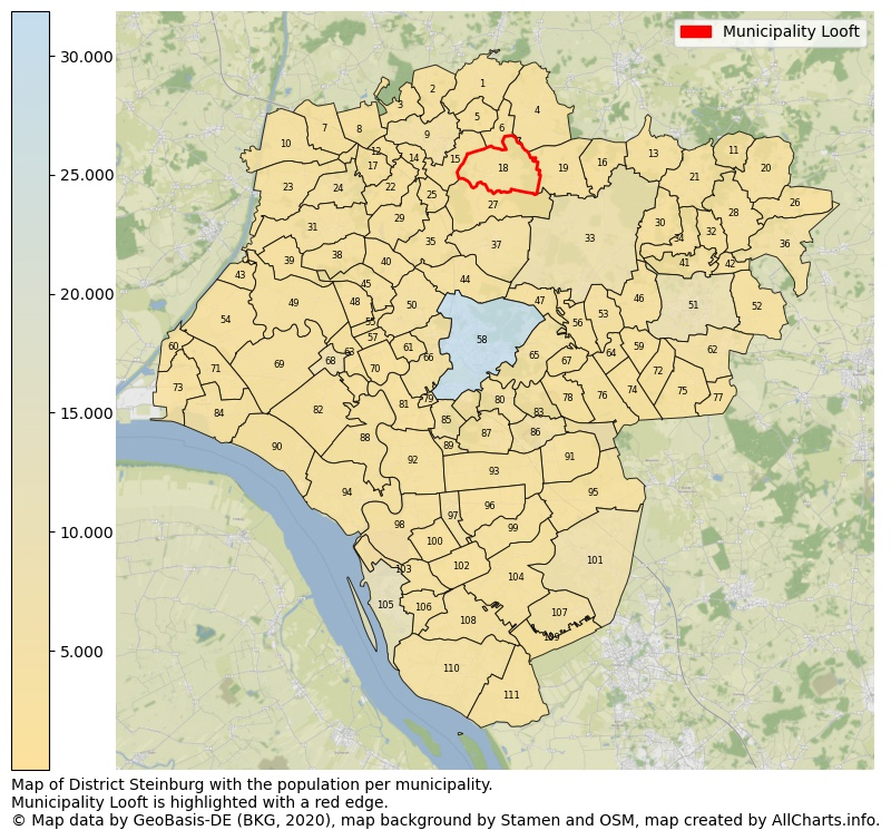 Map of District Steinburg with the population per municipality.Municipality Looft is highlighted with a red edge.. This page shows a lot of information about residents (such as the distribution by age groups, family composition, gender, native or German with an immigration background, ...), homes (numbers, types, price development, use, type of property, ...) and more (car ownership, energy consumption, ...) based on open data from the German Federal Agency for Cartography, the Federal Statistical Office (DESTATIS), the Regional Statistical Offices and various other sources!