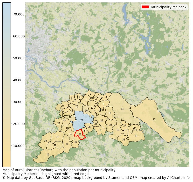 Map of Rural district Lüneburg with the population per municipality.Municipality Melbeck is highlighted with a red edge.. This page shows a lot of information about residents (such as the distribution by age groups, family composition, gender, native or German with an immigration background, ...), homes (numbers, types, price development, use, type of property, ...) and more (car ownership, energy consumption, ...) based on open data from the German Federal Agency for Cartography, the Federal Statistical Office (DESTATIS), the Regional Statistical Offices and various other sources!