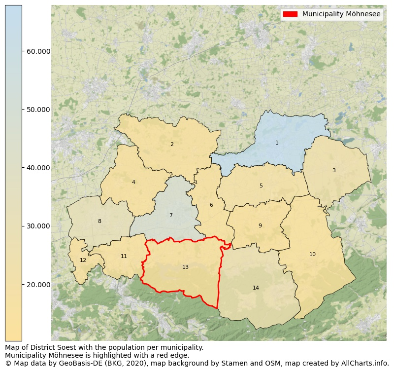 Map of District Soest with the population per municipality.Municipality Möhnesee is highlighted with a red edge.. This page shows a lot of information about residents (such as the distribution by age groups, family composition, gender, native or German with an immigration background, ...), homes (numbers, types, price development, use, type of property, ...) and more (car ownership, energy consumption, ...) based on open data from the German Federal Agency for Cartography, the Federal Statistical Office (DESTATIS), the Regional Statistical Offices and various other sources!
