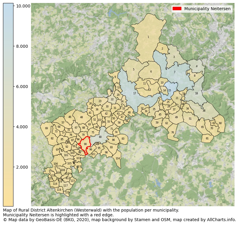 Map of Rural district Altenkirchen (Westerwald) with the population per municipality.Municipality Neitersen is highlighted with a red edge.. This page shows a lot of information about residents (such as the distribution by age groups, family composition, gender, native or German with an immigration background, ...), homes (numbers, types, price development, use, type of property, ...) and more (car ownership, energy consumption, ...) based on open data from the German Federal Agency for Cartography, the Federal Statistical Office (DESTATIS), the Regional Statistical Offices and various other sources!