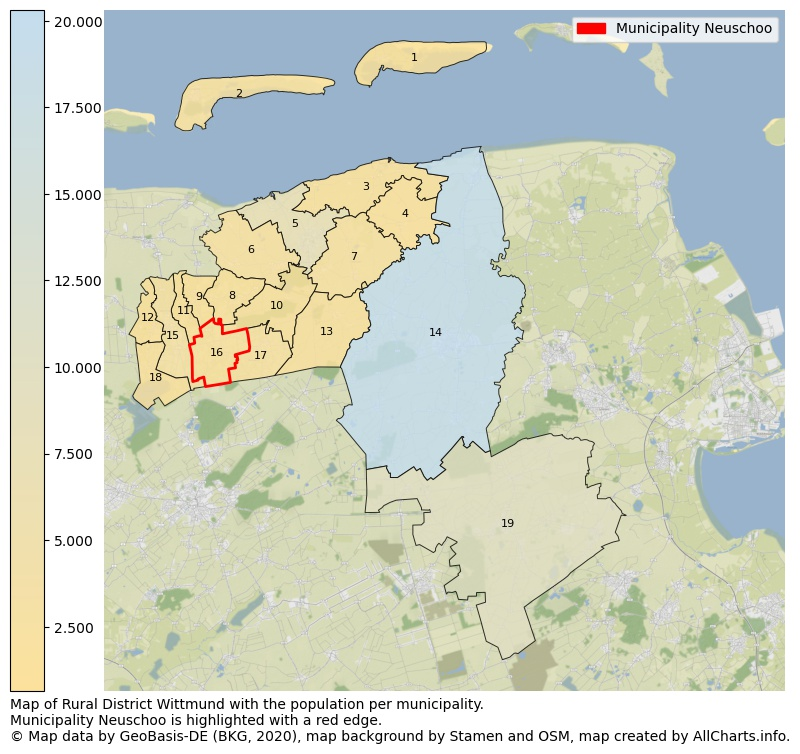 Map of Rural district Wittmund with the population per municipality.Municipality Neuschoo is highlighted with a red edge.. This page shows a lot of information about residents (such as the distribution by age groups, family composition, gender, native or German with an immigration background, ...), homes (numbers, types, price development, use, type of property, ...) and more (car ownership, energy consumption, ...) based on open data from the German Federal Agency for Cartography, the Federal Statistical Office (DESTATIS), the Regional Statistical Offices and various other sources!