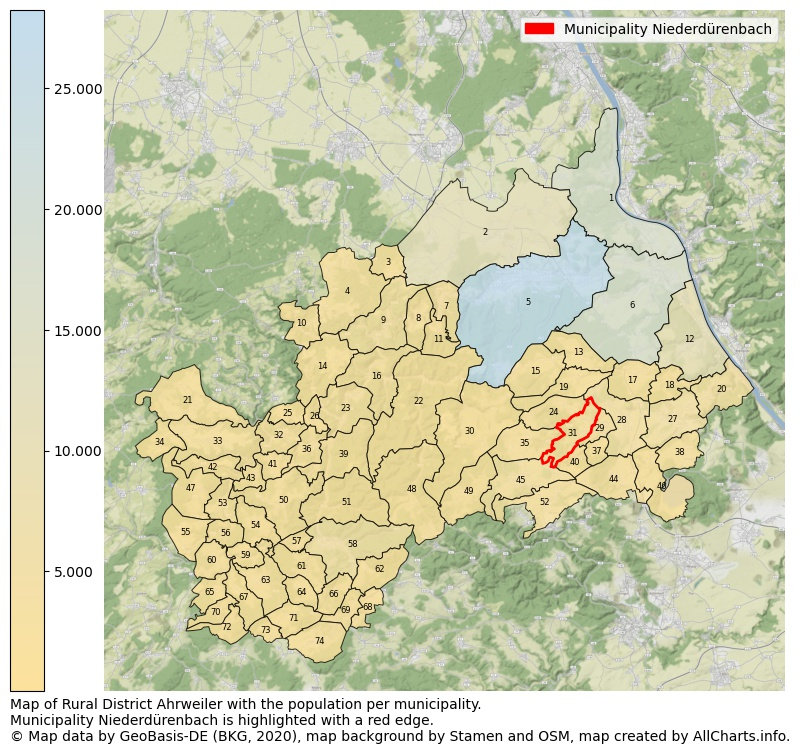 Map of Rural district Ahrweiler with the population per municipality.Municipality Niederdürenbach is highlighted with a red edge.. This page shows a lot of information about residents (such as the distribution by age groups, family composition, gender, native or German with an immigration background, ...), homes (numbers, types, price development, use, type of property, ...) and more (car ownership, energy consumption, ...) based on open data from the German Federal Agency for Cartography, the Federal Statistical Office (DESTATIS), the Regional Statistical Offices and various other sources!