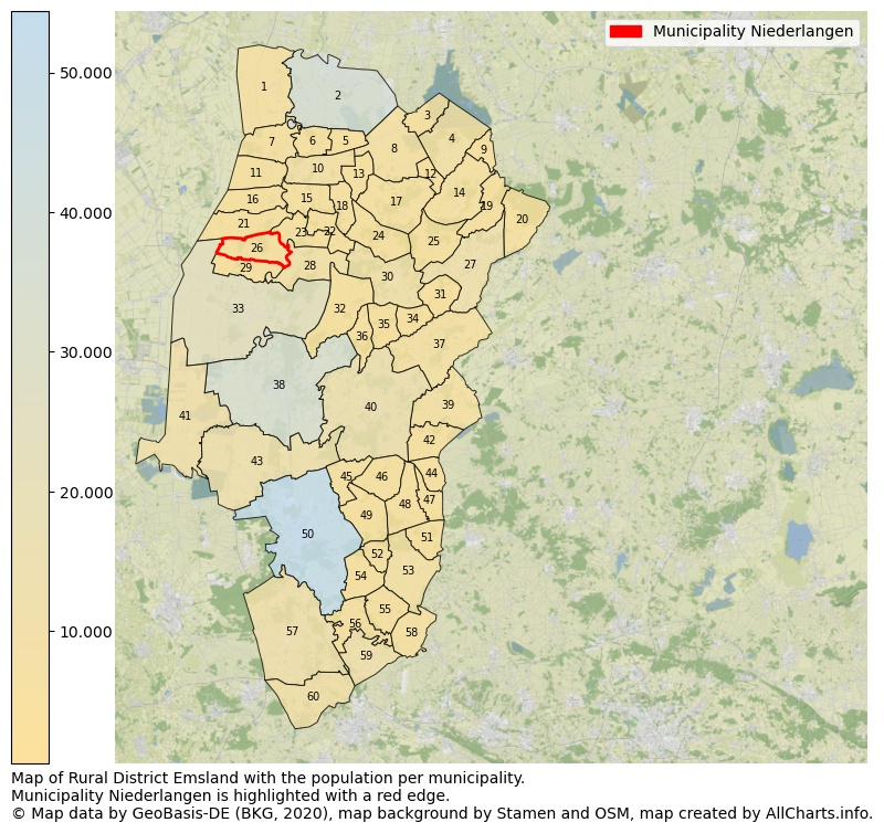 Map of Rural district Emsland with the population per municipality.Municipality Niederlangen is highlighted with a red edge.. This page shows a lot of information about residents (such as the distribution by age groups, family composition, gender, native or German with an immigration background, ...), homes (numbers, types, price development, use, type of property, ...) and more (car ownership, energy consumption, ...) based on open data from the German Federal Agency for Cartography, the Federal Statistical Office (DESTATIS), the Regional Statistical Offices and various other sources!