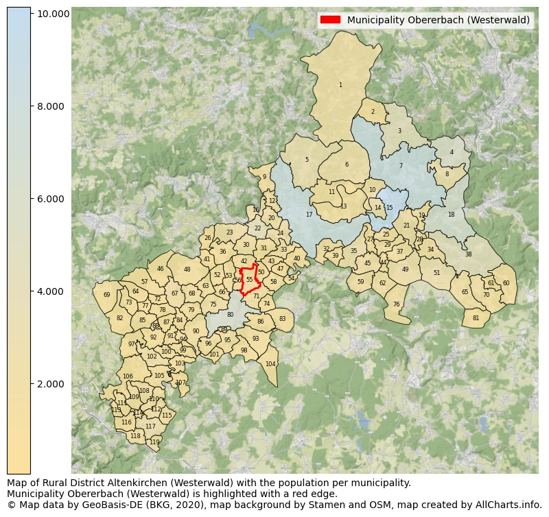 Map of Rural district Altenkirchen (Westerwald) with the population per municipality.Municipality Obererbach (Westerwald) is highlighted with a red edge.. This page shows a lot of information about residents (such as the distribution by age groups, family composition, gender, native or German with an immigration background, ...), homes (numbers, types, price development, use, type of property, ...) and more (car ownership, energy consumption, ...) based on open data from the German Federal Agency for Cartography, the Federal Statistical Office (DESTATIS), the Regional Statistical Offices and various other sources!
