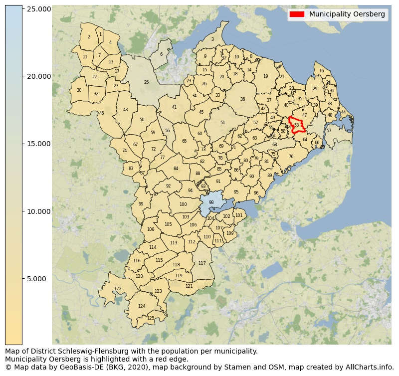 Map of District Schleswig-Flensburg with the population per municipality.Municipality Oersberg is highlighted with a red edge.. This page shows a lot of information about residents (such as the distribution by age groups, family composition, gender, native or German with an immigration background, ...), homes (numbers, types, price development, use, type of property, ...) and more (car ownership, energy consumption, ...) based on open data from the German Federal Agency for Cartography, the Federal Statistical Office (DESTATIS), the Regional Statistical Offices and various other sources!