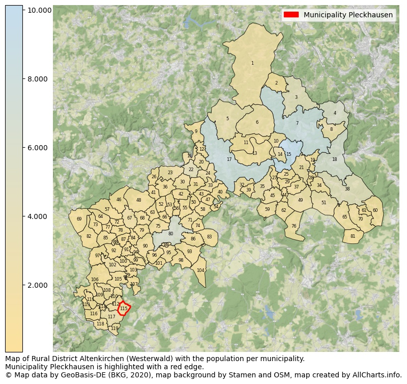 Map of Rural district Altenkirchen (Westerwald) with the population per municipality.Municipality Pleckhausen is highlighted with a red edge.. This page shows a lot of information about residents (such as the distribution by age groups, family composition, gender, native or German with an immigration background, ...), homes (numbers, types, price development, use, type of property, ...) and more (car ownership, energy consumption, ...) based on open data from the German Federal Agency for Cartography, the Federal Statistical Office (DESTATIS), the Regional Statistical Offices and various other sources!