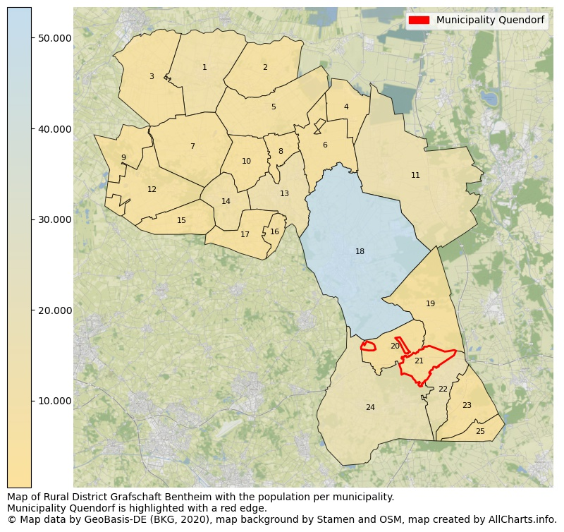 Map of Rural district Grafschaft Bentheim with the population per municipality.Municipality Quendorf is highlighted with a red edge.. This page shows a lot of information about residents (such as the distribution by age groups, family composition, gender, native or German with an immigration background, ...), homes (numbers, types, price development, use, type of property, ...) and more (car ownership, energy consumption, ...) based on open data from the German Federal Agency for Cartography, the Federal Statistical Office (DESTATIS), the Regional Statistical Offices and various other sources!